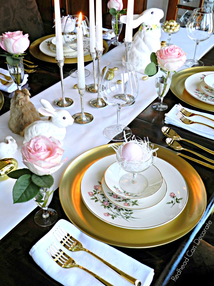 Thrift store clear plastic trays turned beautiful golden chargers for this thrifty golden Easter table!
