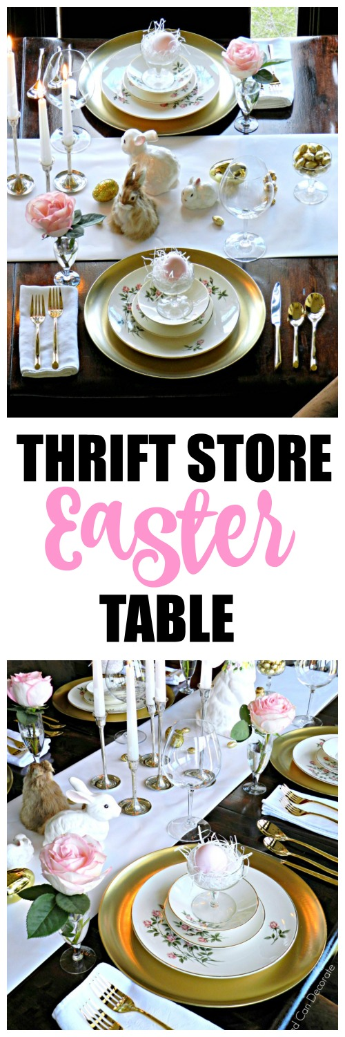 "She used thrift store plates, dollar store chargers, and wrapping paper for the runner! This ""Thrifty Golden Easter Table"" is a must see!"