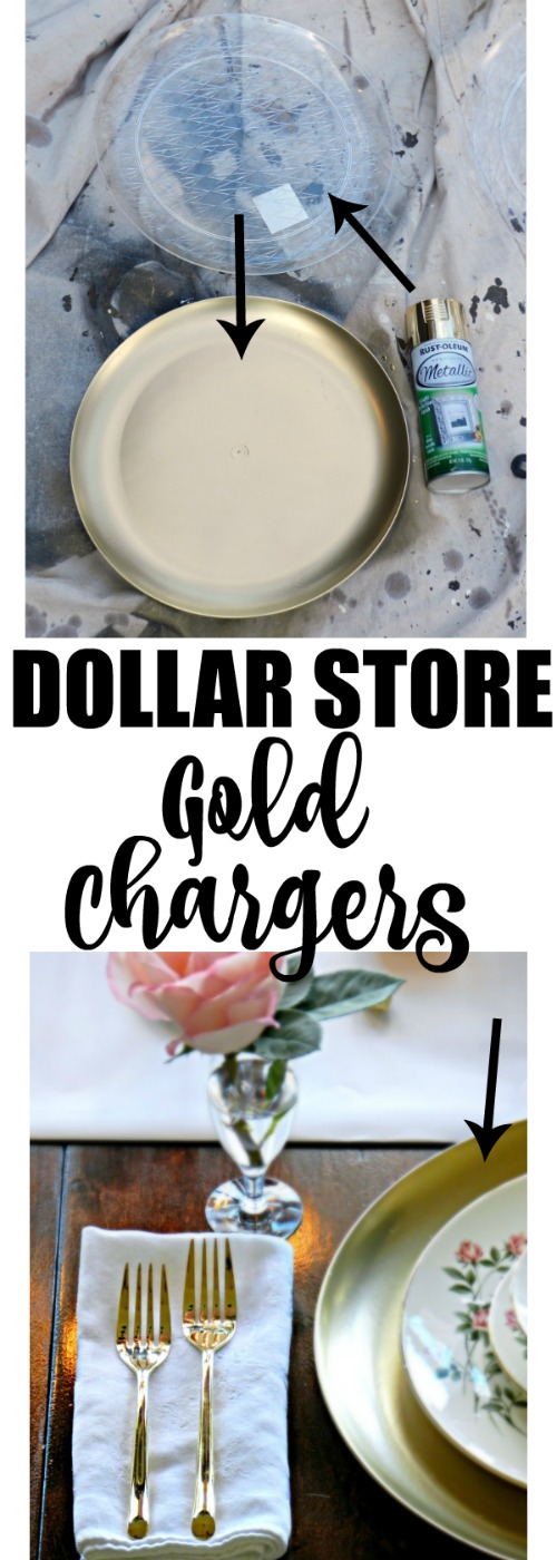 I can't believe these gorgeous gold chargers are made from those clear plastic trays from the dollar store. All she did was spray paint them!