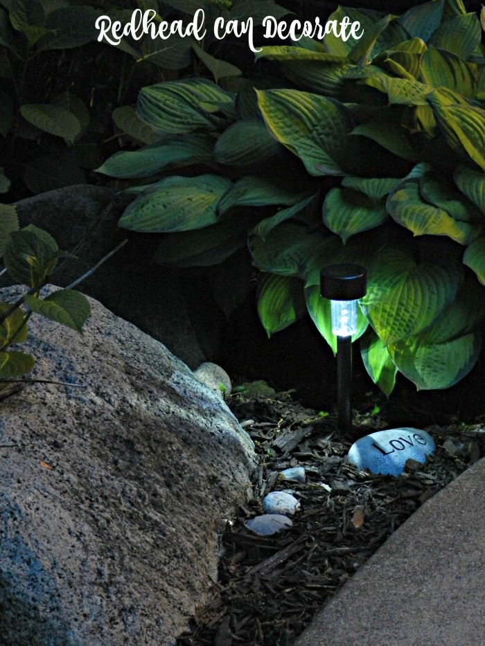 Dollar store solar lights for the garden work fantastic! They last just as long and you can replace for less cost!