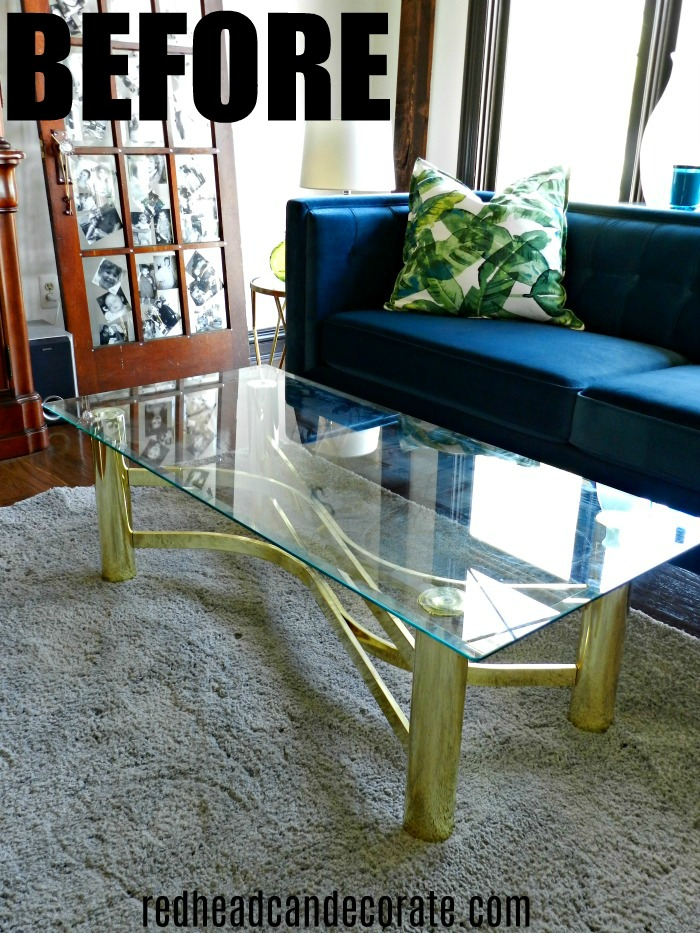 Thrifty Vintage Brass U0026 Glass Coffee Table Gets A Modern Day Makeover With  This One Simple