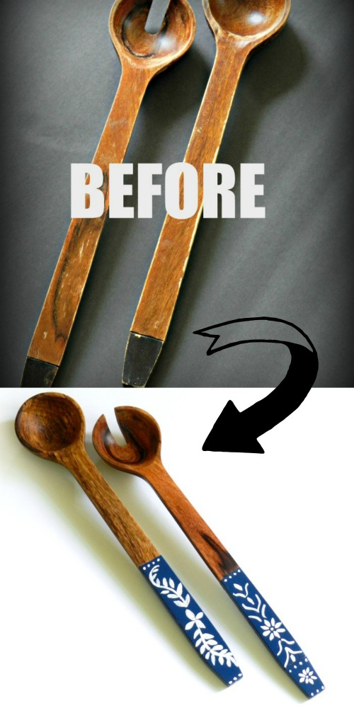 You won't believe what this woman did to an old salad serving set. This Wooden Salad Serving Set Makeover is amazing & sounds easy to do.