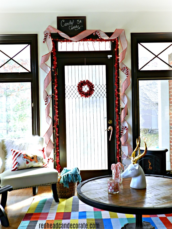 What A Gorgeous Idea To Decorate Candy Cane Door For Christmas She