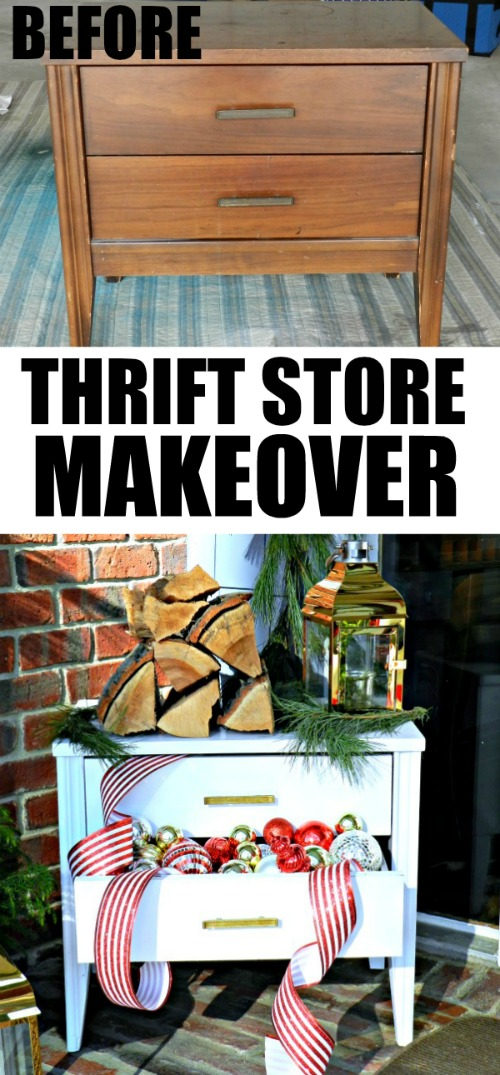 Amazing thrift store nightstand makeover using paint, and a few Christmas decorations.