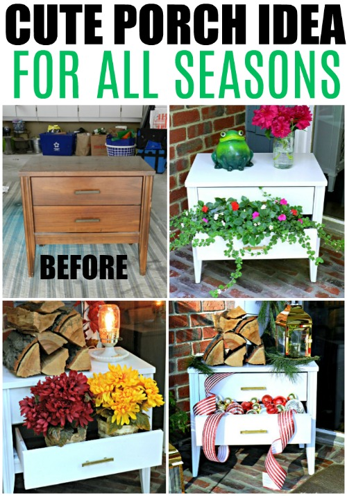 What a cute idea!  Just go get a night sand at the thrift store.  Then paint it and add decor each season!  Summer, Fall, Winter!