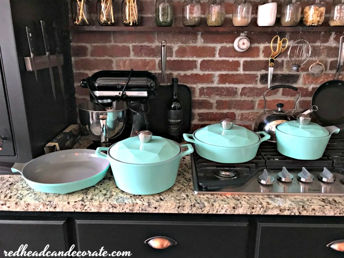 Stunning cookware set from DIY blogger Julie from redheadcandecorate.com.