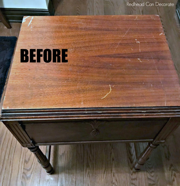 Vintage sewing machine table makeover without refinishingpainting check out this vintage sewing machine table makeover without refinishingpainting she used 3 watchthetrailerfo