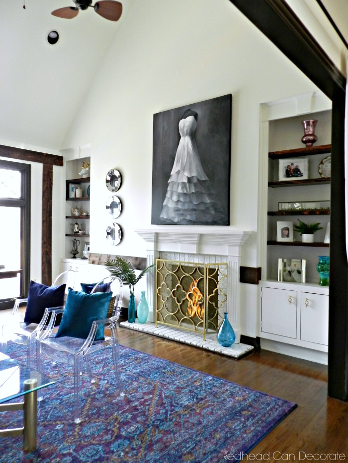 This Painted Built In Shelves u0026 Brick Fireplace