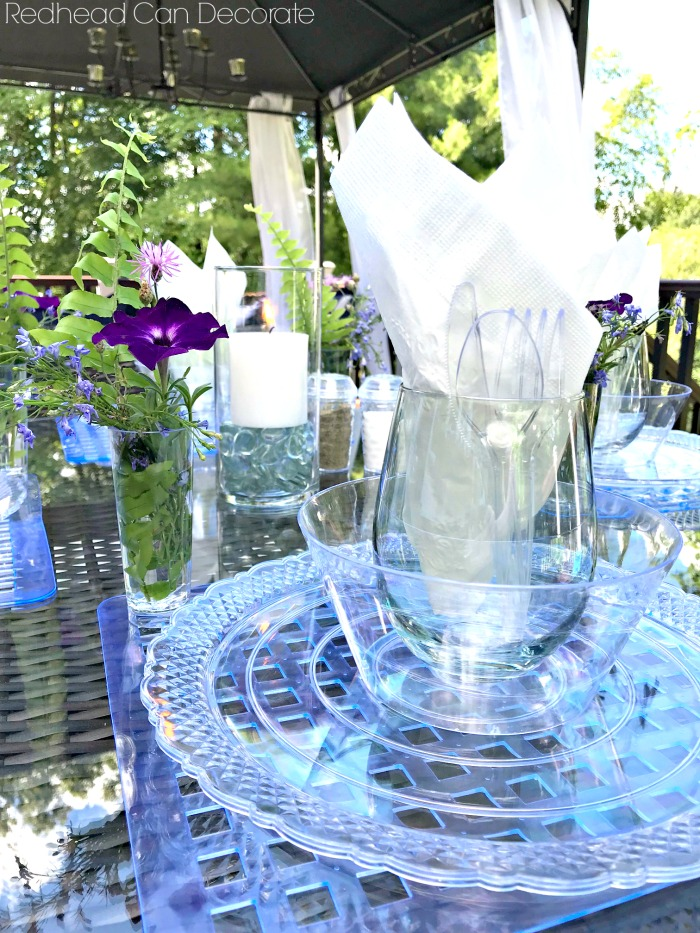 I can't believe you can buy supplies at the dollar store for this gorgeous Dollar Store Iridescent Tablescape!