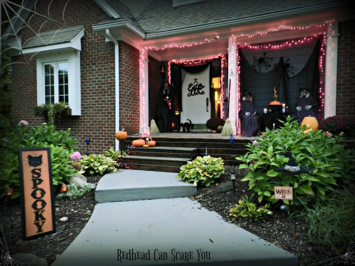 This DIY Spooky Witch Halloween Porch has just the right amount of spooky for all ages.