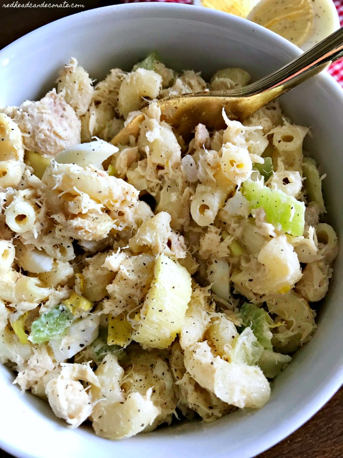 Tuna Macaroni Salad that is loaded with protein a low in calories.