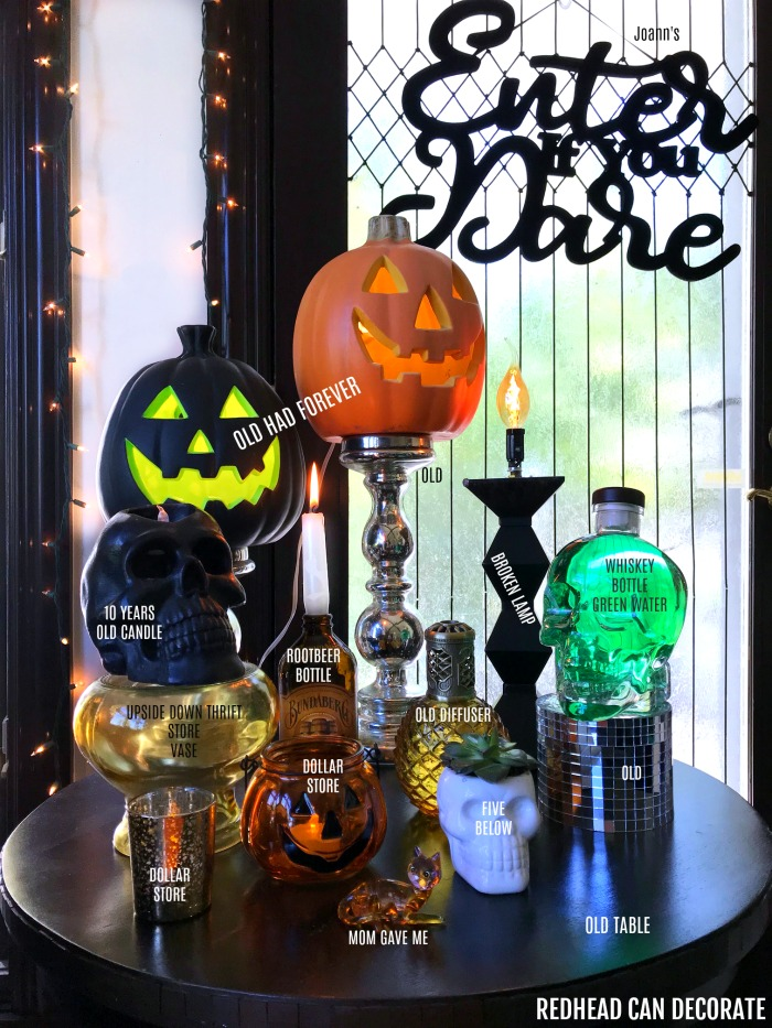 Cute Thrifty Spooky Halloween Corner using affordable ideas.