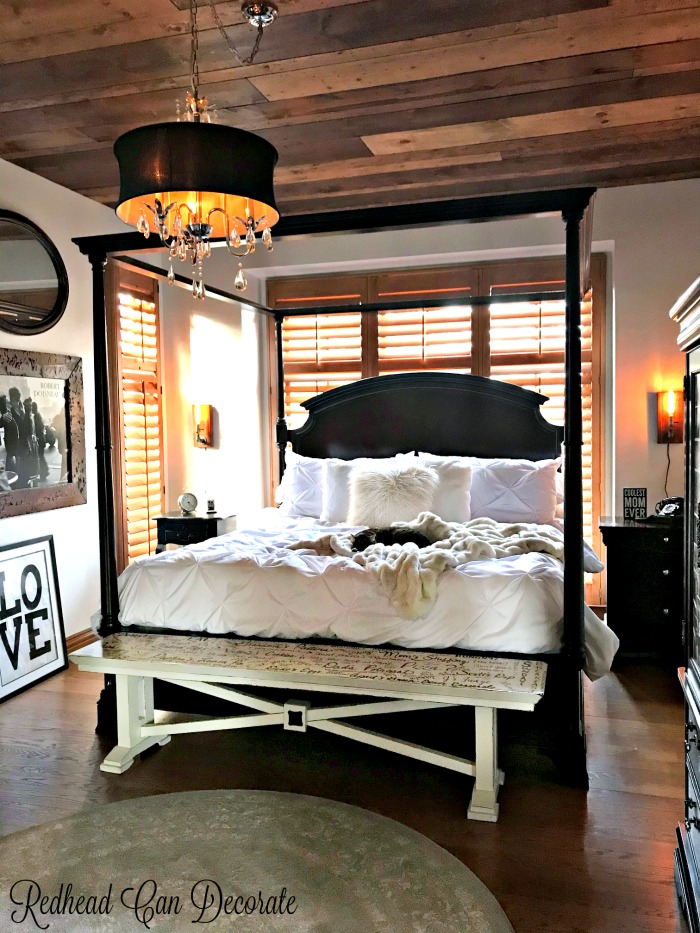 These before and after photos of this Rustic Romantic Bedroom Makeover are shocking!  The light fixtures add such charm, and the ceiling is gorgeous!
