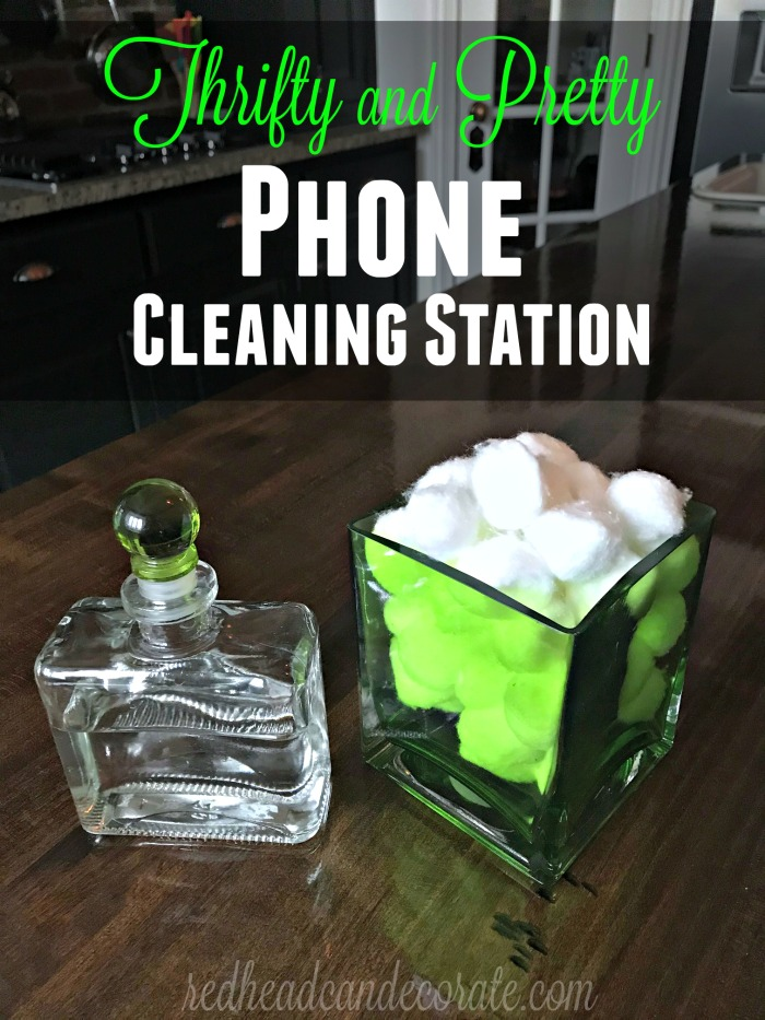 """Thrifty and Pretty Phone Cleaning Station"" below was created using an old fancy bottle (with a secure top) filled with rubbing alcohol from the dollar store.  It's partner is a thrift store vase cleaned, and filled with dollar store cotton balls."