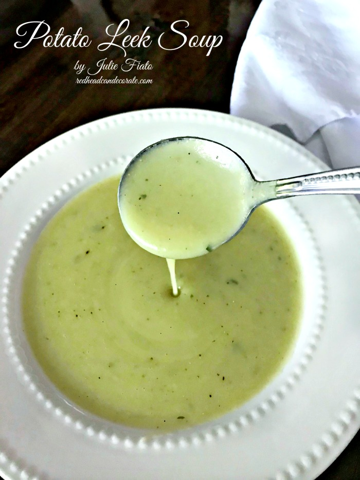 Potato Leek Soup is so easy to make it will shock you!  This recipe is also a healthy version requiring no heavy cream and it still comes out creamy!