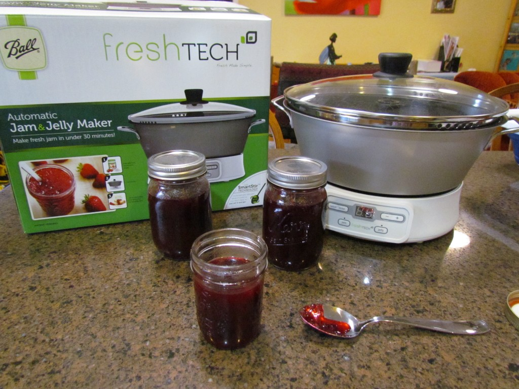 fresh tech jam jelly maker on counter with jars