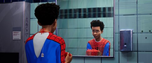 boy looking in the mirror animated