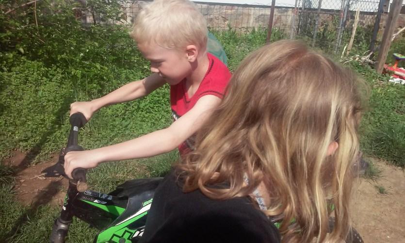 Luke riding his bike