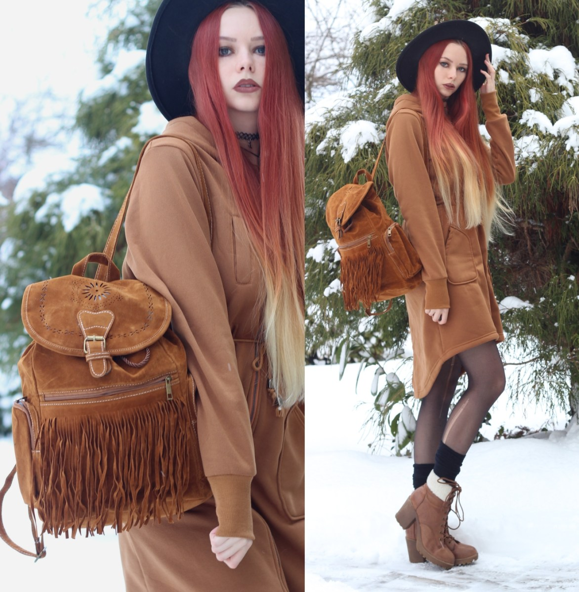 Hoodie jacket and boho backpack: adventure awaits