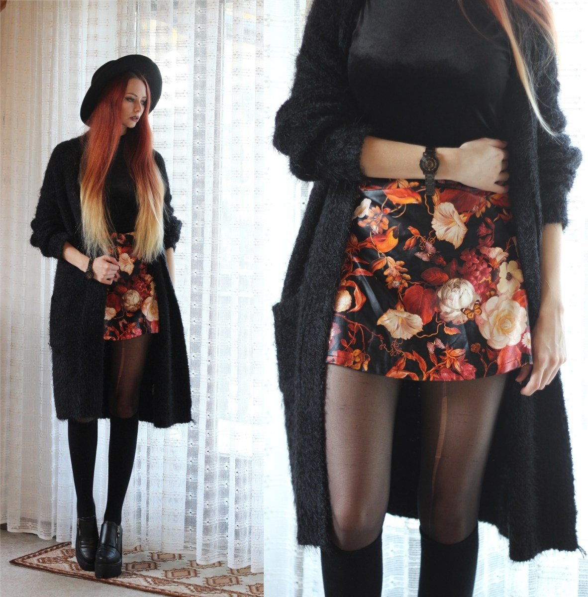 Floral skirt and all black: between autumn and spring