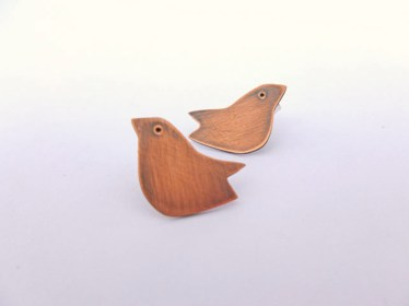 Copper folk bird earrings the little red hen