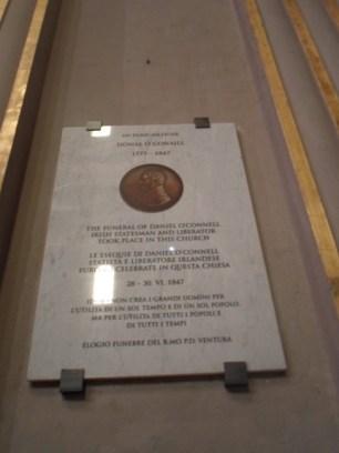 Daniel O Connell plaque, Church of St Ignatius Loyala, Rome