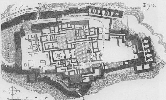 mapa del castillo de tirinto en micenas