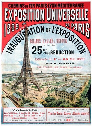 Cartel para la Exposición Universal de París de 1889, en el que se aprecia que la principal atracción será la Torre Eiffel