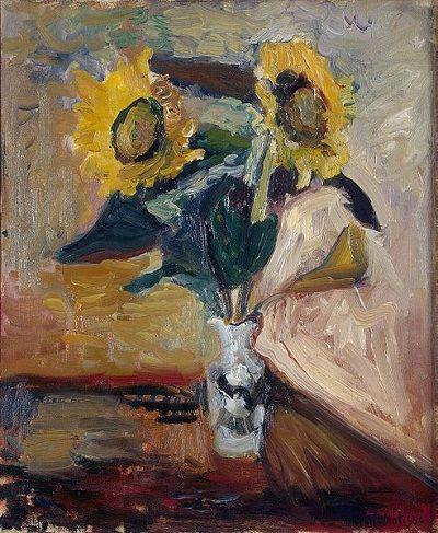 Jarrón con girasoles, Henri Matisse, 1898-99, óleo sobre lienzo. La influencia de Van Gogh es más que evidente en esta obra.