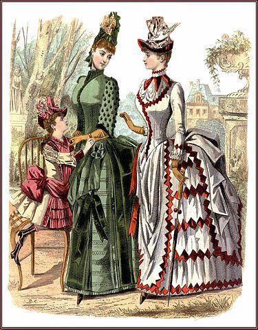 Placa de moda de la década de 1880. La imagen muestra los característicos polisones de las faldas, así como la importancia de los volúmenes en la estética indumentaria de la Belle Époque