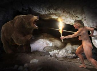 hombre de las cavernas y oso