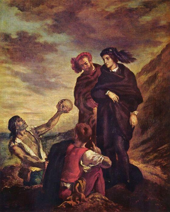 Hamlet y Horacio en el cementerio, Eugéne Delacroix, ca. 1839, óleo sobre lienzo
