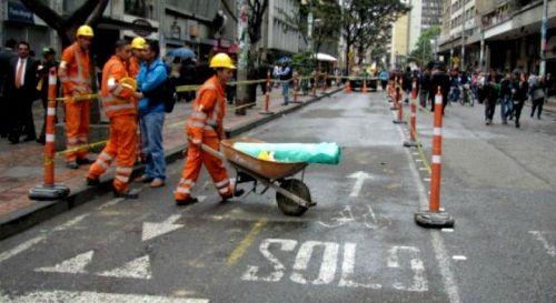 Obras de peatonalización en la carrera Séptima, Bogotá. Crédito: bogota.gov.co