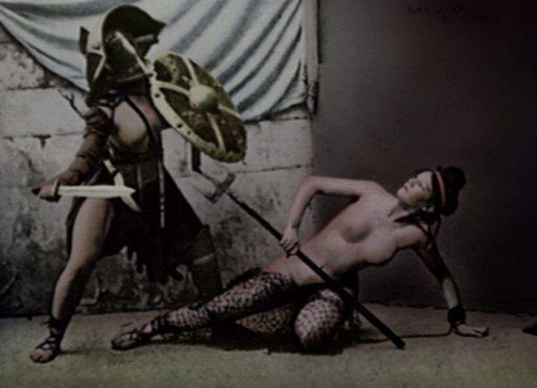 Representación de gladiatrix romana.