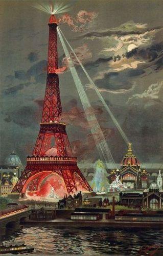 torre eiffel iluminada noche 1889