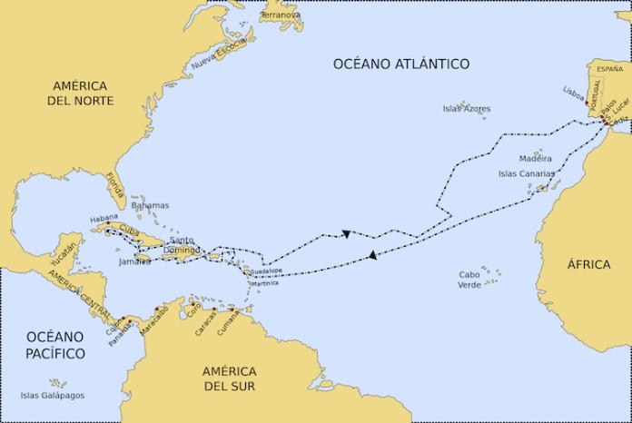 mapa ruta segundo viaje colon