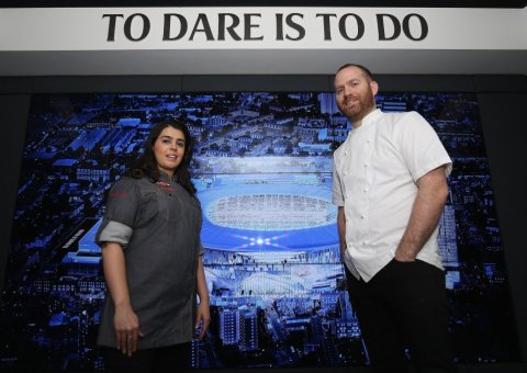 Dipna Anand and Bryn Williams at Tottenham Hotspur's new 'On Four' venue