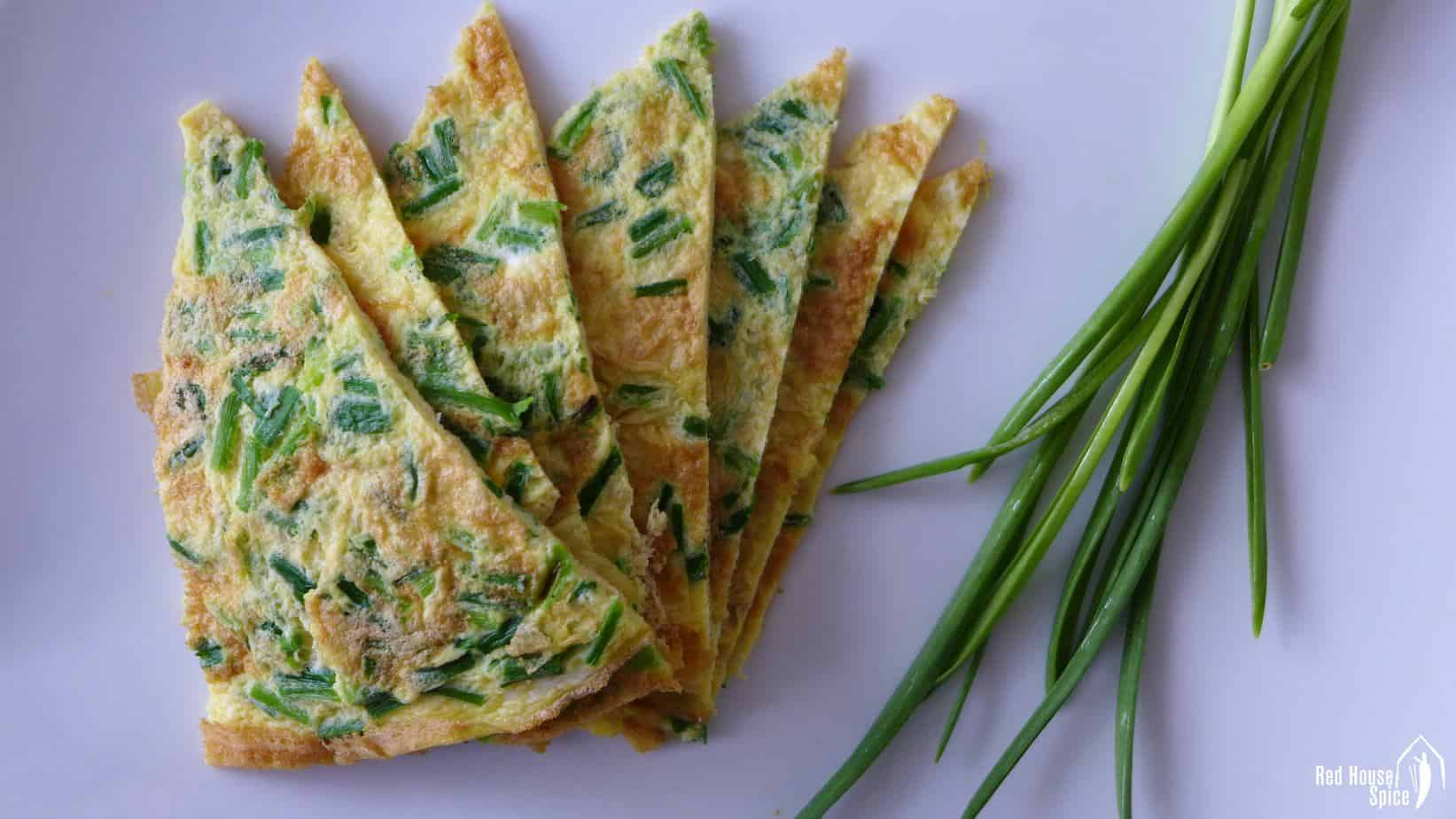 Omelette with homegrown garlic sprouts