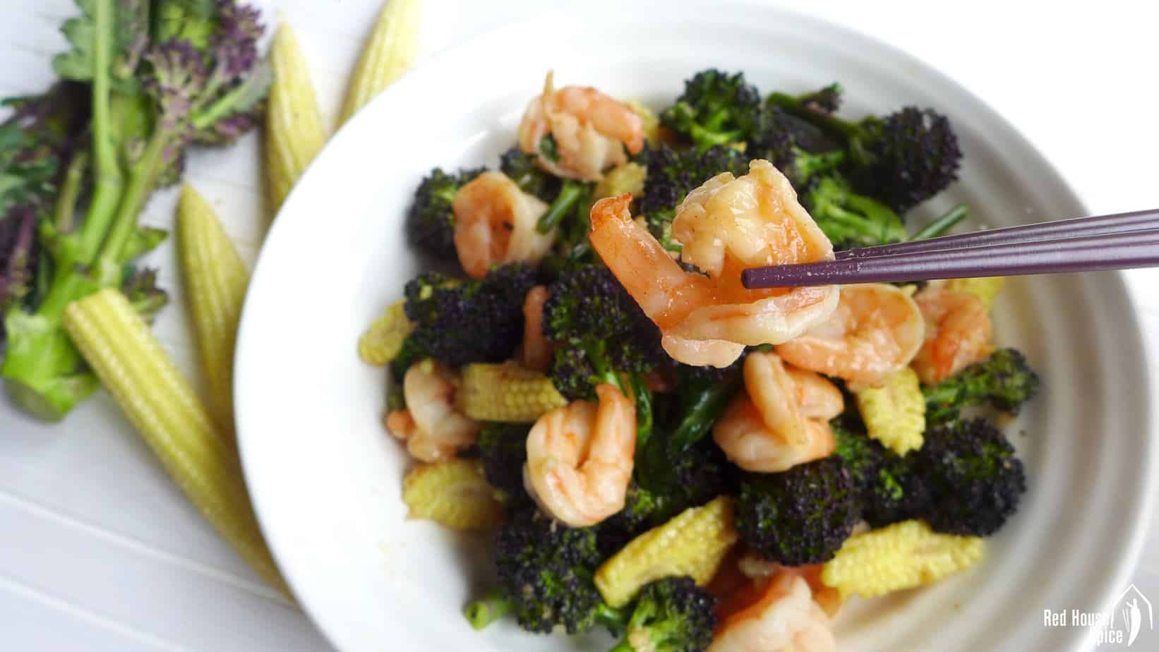 Purple sprouting broccoli and prawn stir-fry