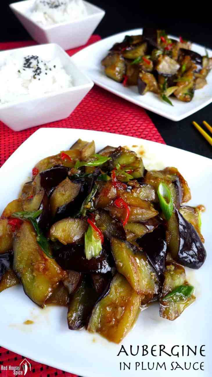 Creamy and luscious, stir-fried aubergine in plum sauce is a dish to die for. This recipe tells you how to achieve the desired texture using a minimum of oil.