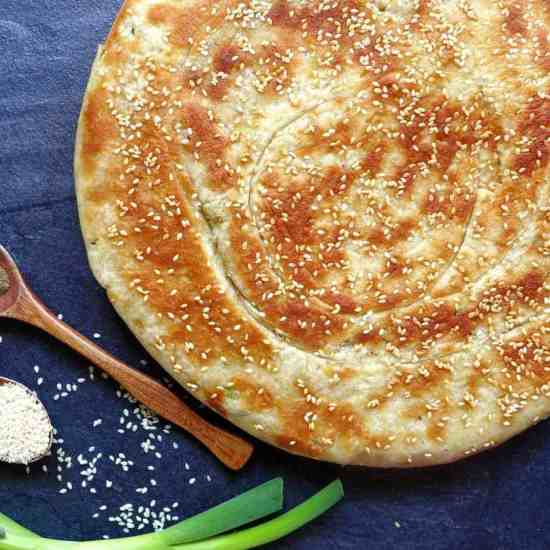 Leavened scallion flatbread