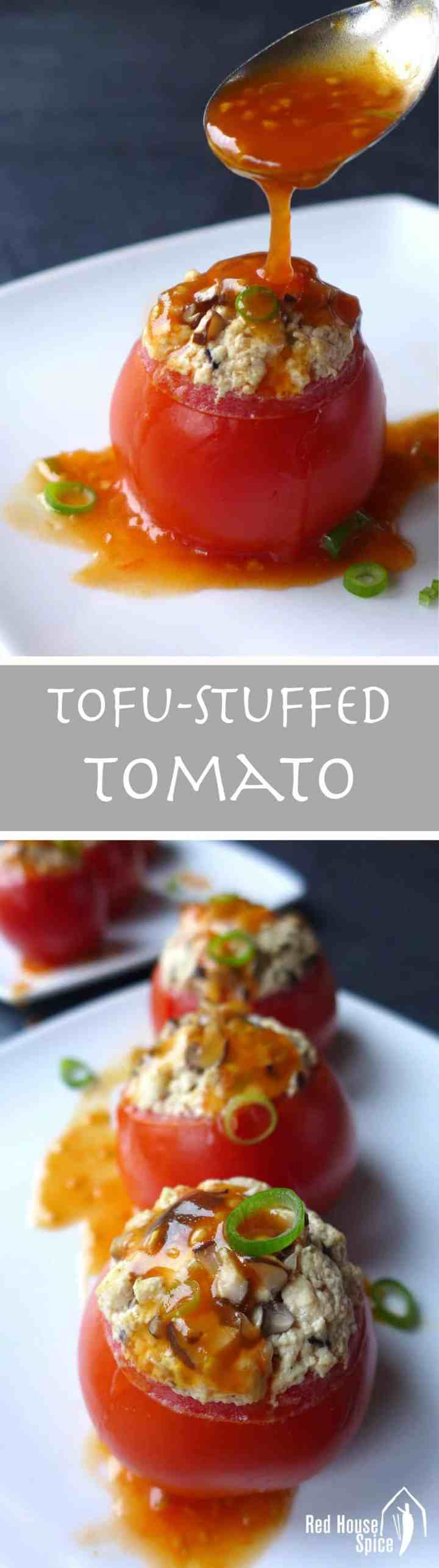 Juicy tomatoes are hollowed and steamed with well seasoned tofu crumbs. These tofu-stuffed tomatoes are then served with a scrumptious sweet and sour sauce.