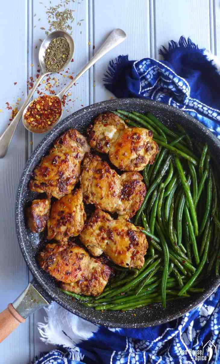 Quick to cook and difficult to fail, spicy cumin chicken thighs with green beans is inspired by a popular Chinese street food. An easy pan-fried dish full of flavour.