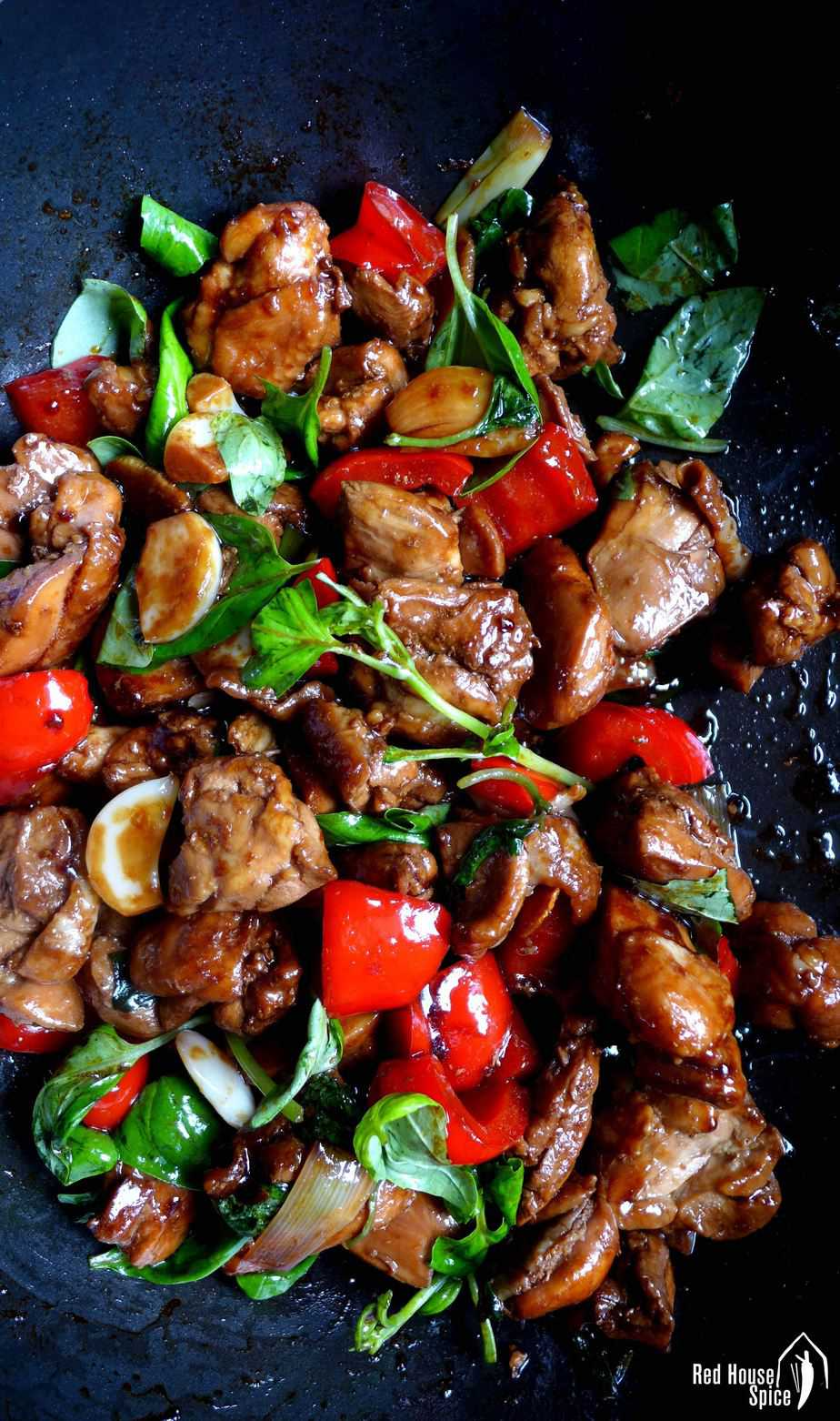 Fried in sesame oil, braised in rice wine and soy sauce, then flavoured with fresh basil, Taiwanese three cup chicken is super aromatic and very easy to cook.