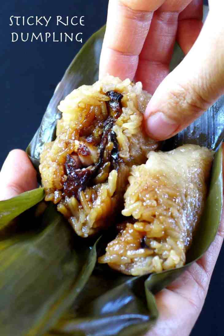 A savoury Zongzi (Sticky rice dumpling) filled with pork and mushroom.