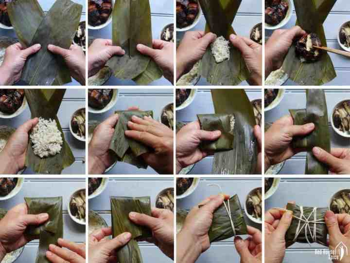 Process shots on how to wrapper sticky rice dumplings.
