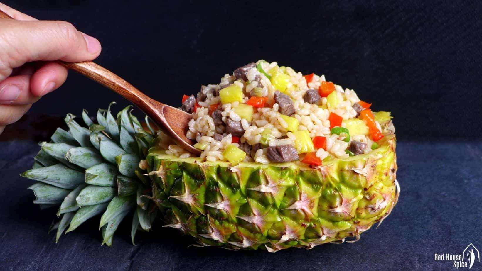 Easy beef & pineapple fried rice (菠萝炒饭)