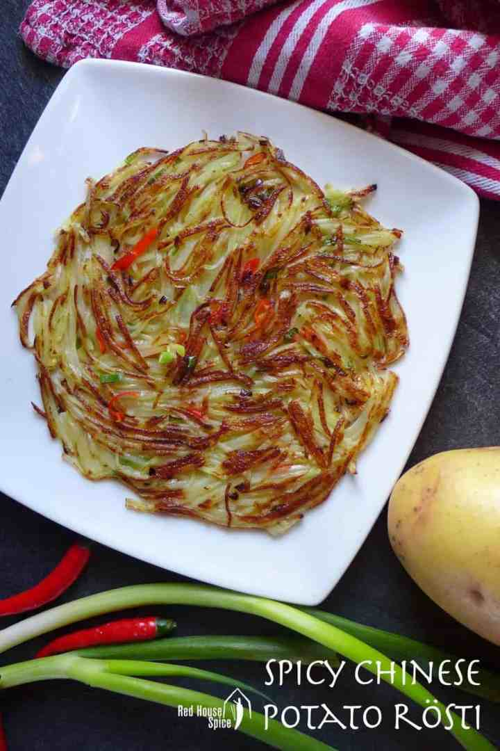 A round potato pancake seasoned with chilli and Sichuan pepper.