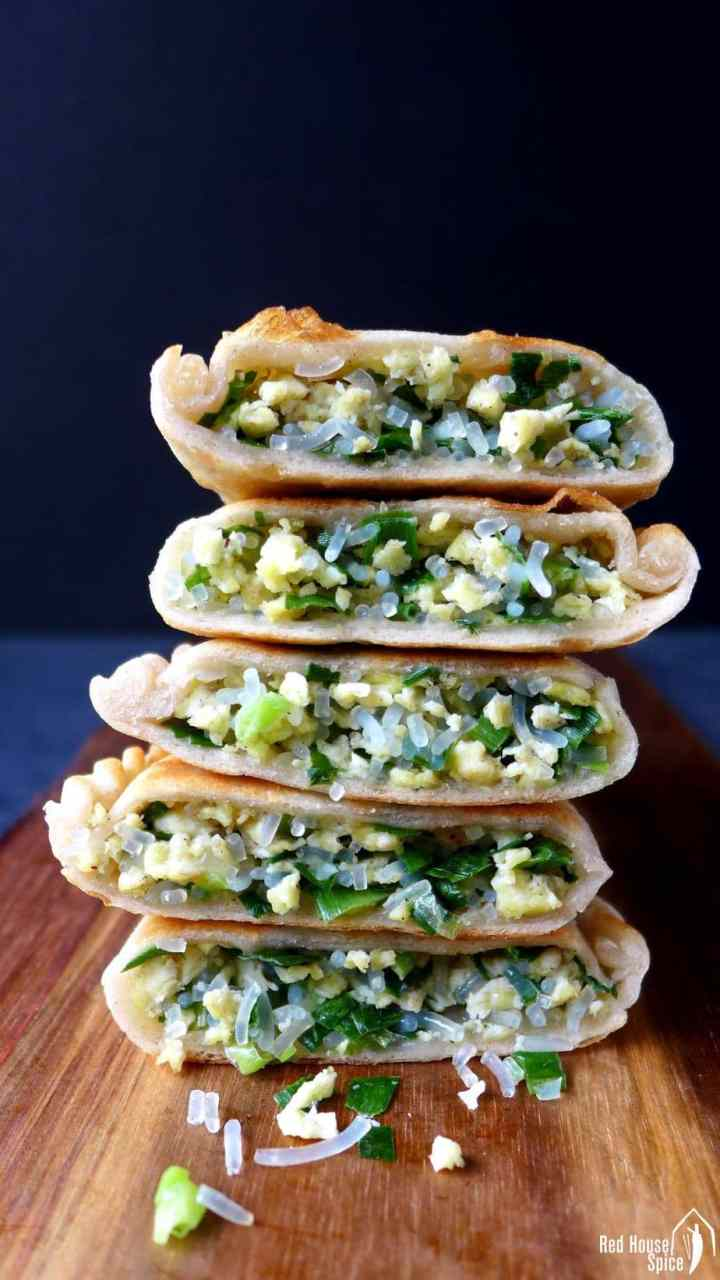 Chinese chive pockets cut into halves
