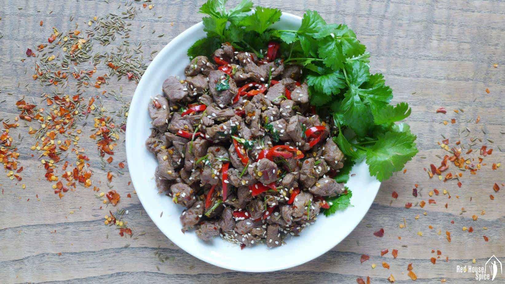 Spicy cumin lamb stir-fry (孜然羊肉)